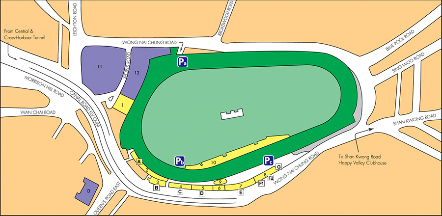 Happy Valley Racecourse Route Map